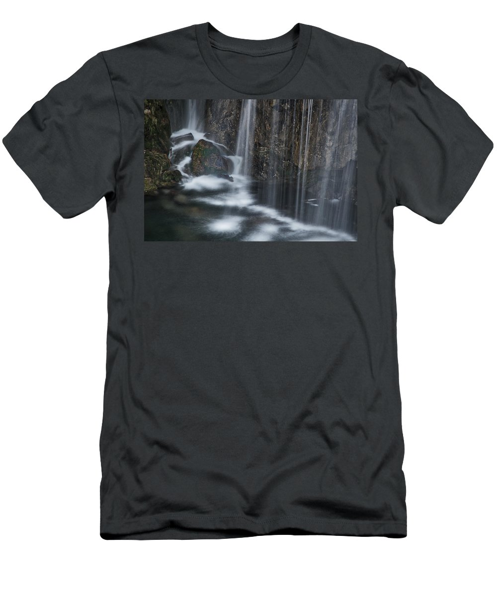 Croatia Men's T-Shirt (Athletic Fit) featuring the photograph Bottom Of A Waterfall #3 by Stuart Litoff