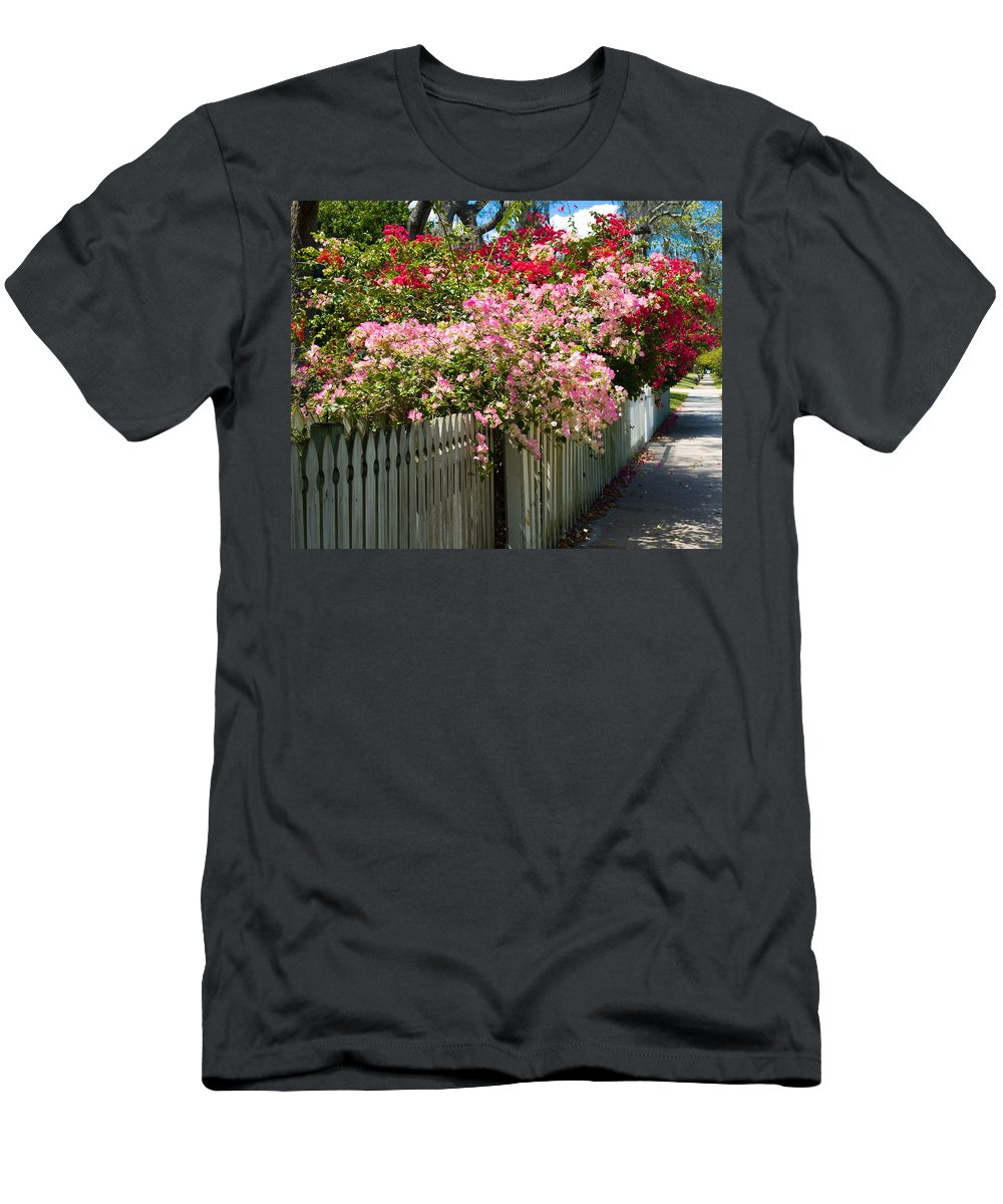 Nyctaginaceae; Bougainvillea; Flower; Flowers; Flowering; Bloom; Bloomimg; Blossom; Blossoming; Red; Men's T-Shirt (Athletic Fit) featuring the photograph Bougainvillea In Old Eau Gallie Florida by Allan Hughes