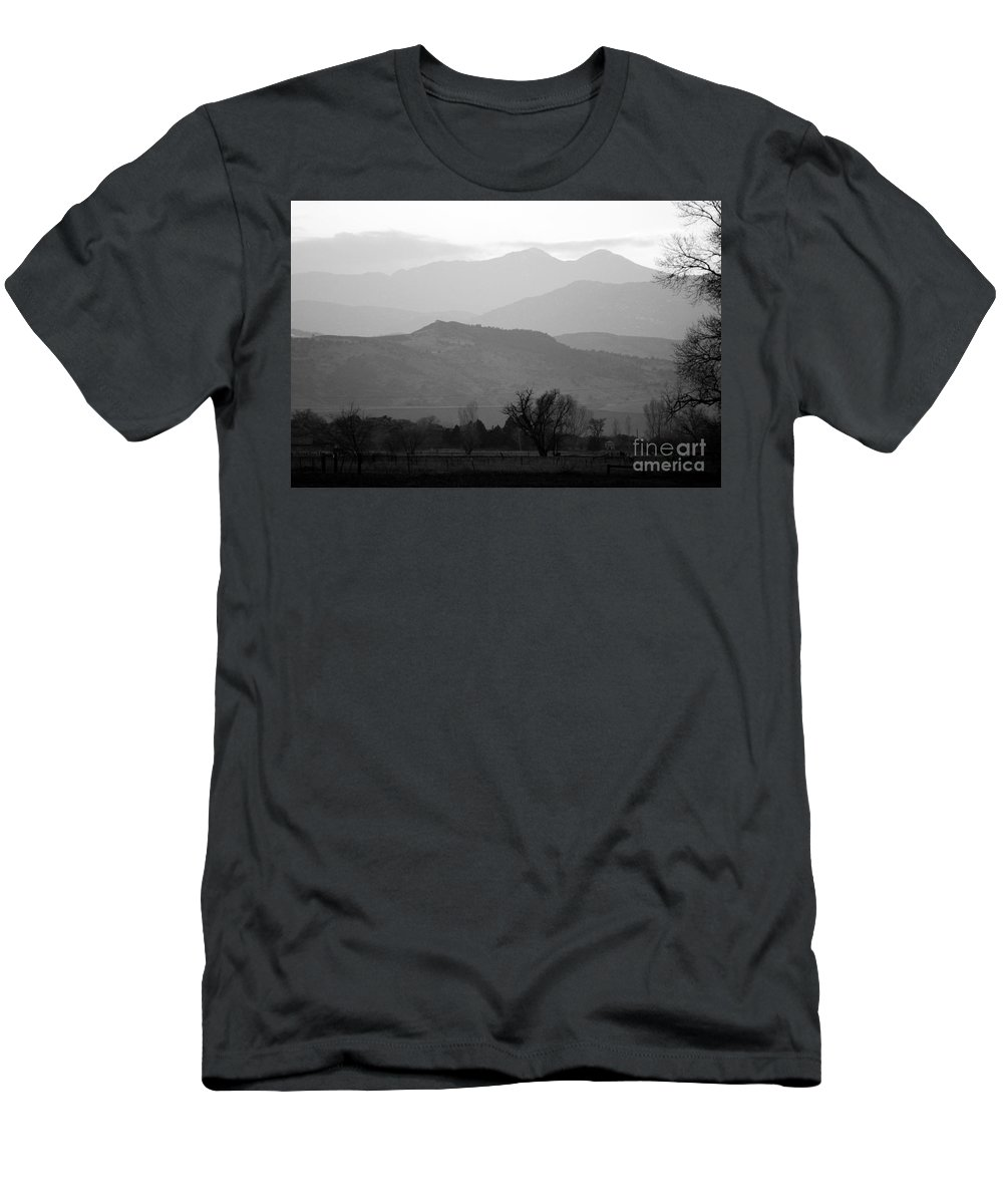 Foothills Men's T-Shirt (Athletic Fit) featuring the photograph Boulder County Foothills To The Rockies Bw by James BO Insogna