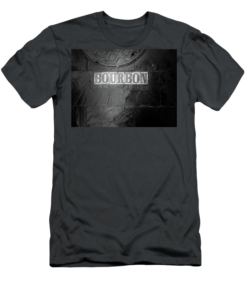 Fine Art New Orleans Men's T-Shirt (Athletic Fit) featuring the photograph Bourbon In Black And White by Greg Mimbs