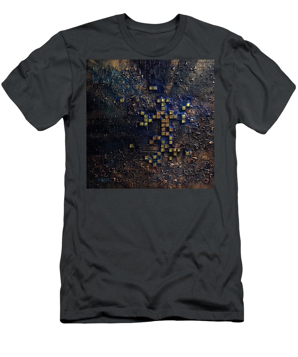 Abstract Glass Checkers Gold Blue Men's T-Shirt (Athletic Fit) featuring the painting Box Of Thoughts by Beth Waltz