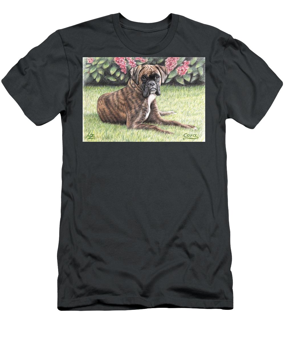 Dog Men's T-Shirt (Athletic Fit) featuring the drawing Boxer Girl by Nicole Zeug