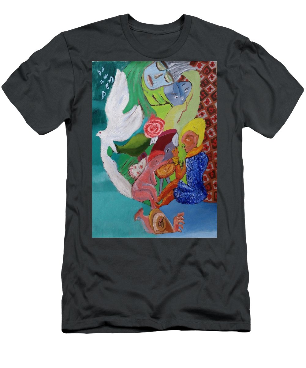 Children Men's T-Shirt (Athletic Fit) featuring the painting Boy With Empanadilla In His Hand by Darabem Artist