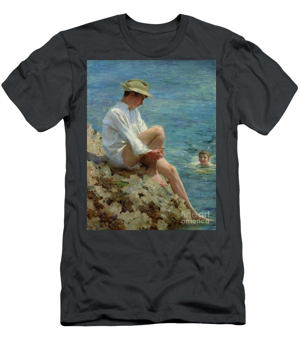 Boys Men's T-Shirt (Athletic Fit) featuring the painting Boys Bathing by Henry Scott Tuke
