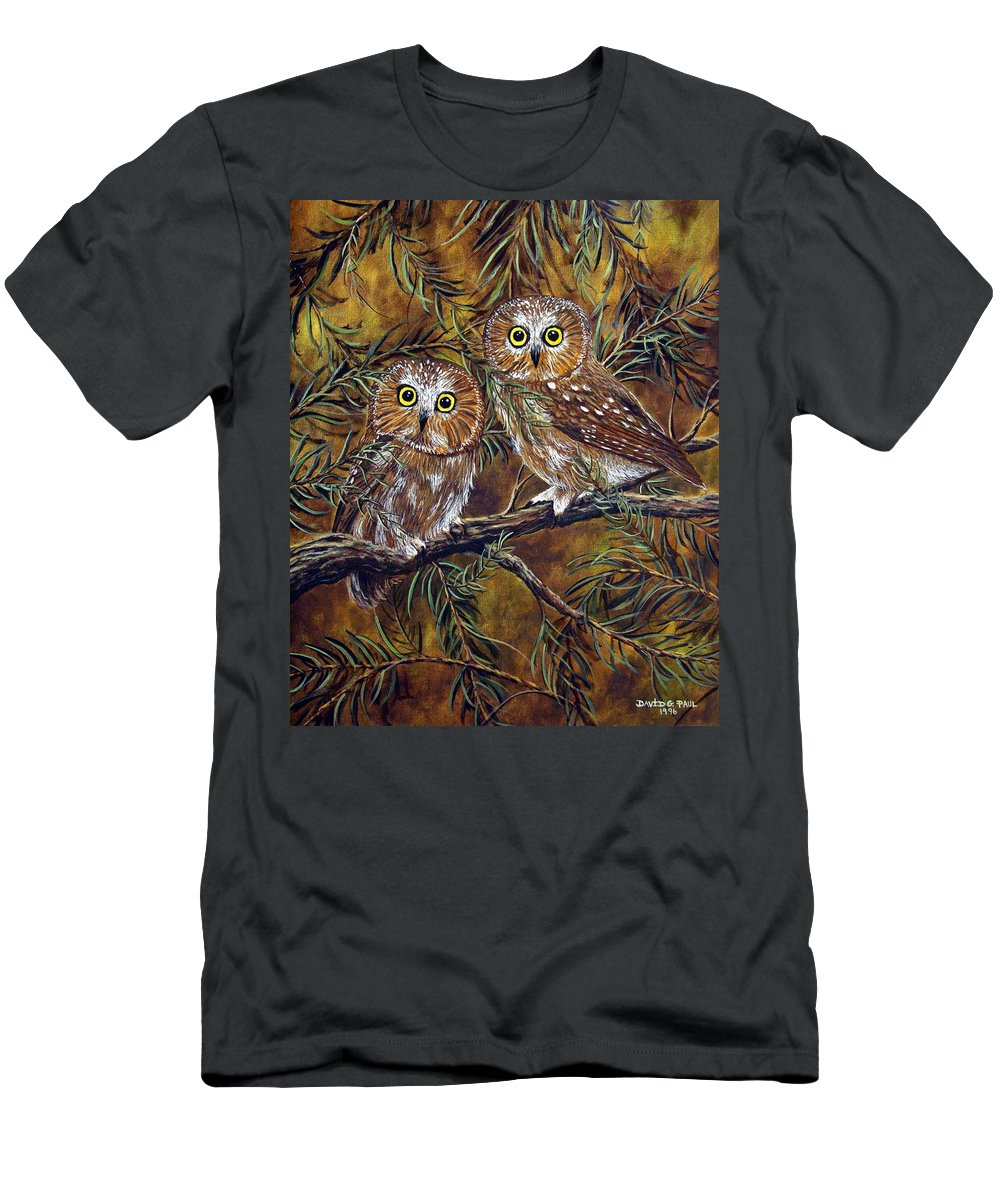 Owls Men's T-Shirt (Athletic Fit) featuring the painting Branch Buddies by David G Paul