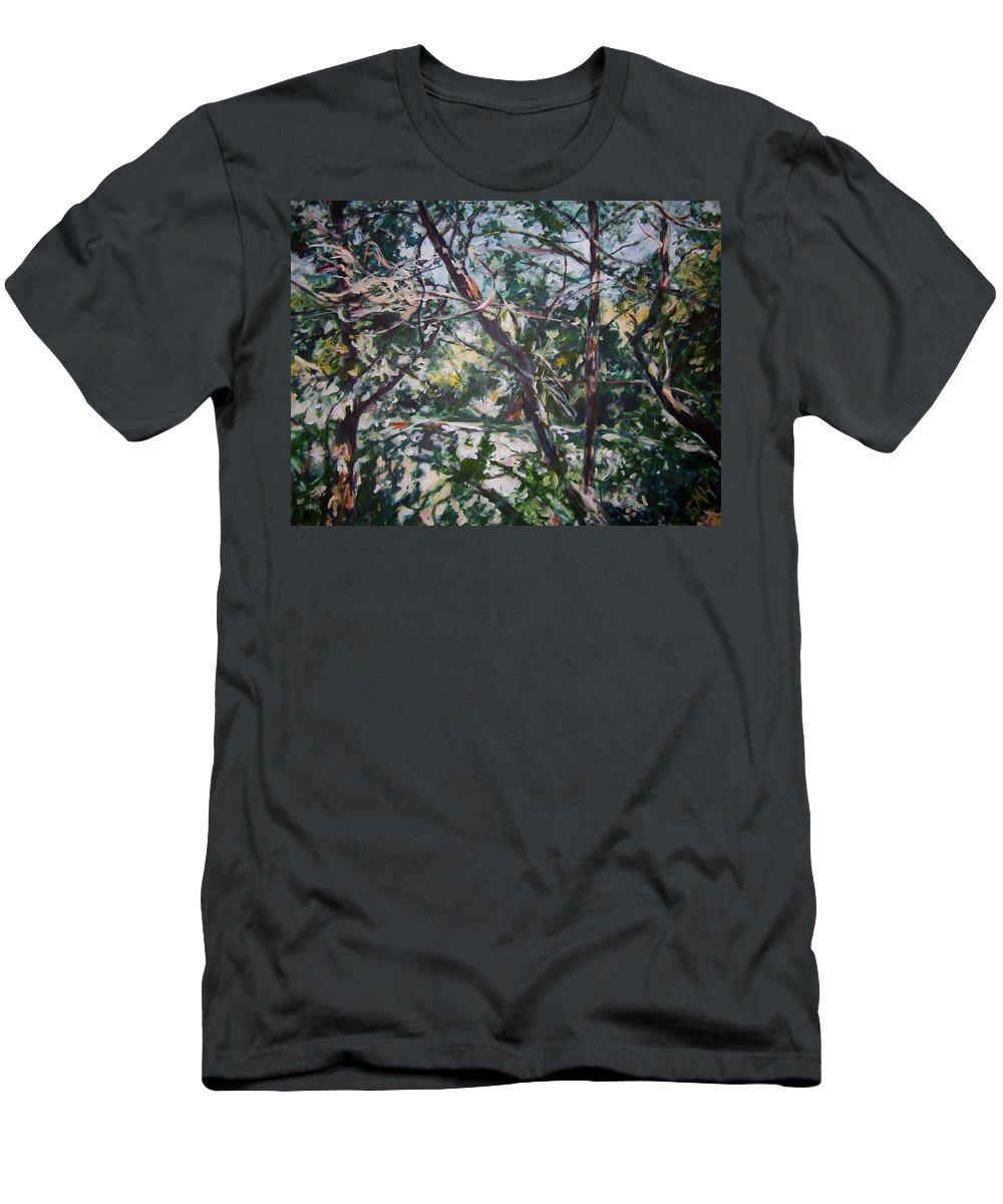 Landscape Men's T-Shirt (Athletic Fit) featuring the painting Branches Of Light by Sheila Holland