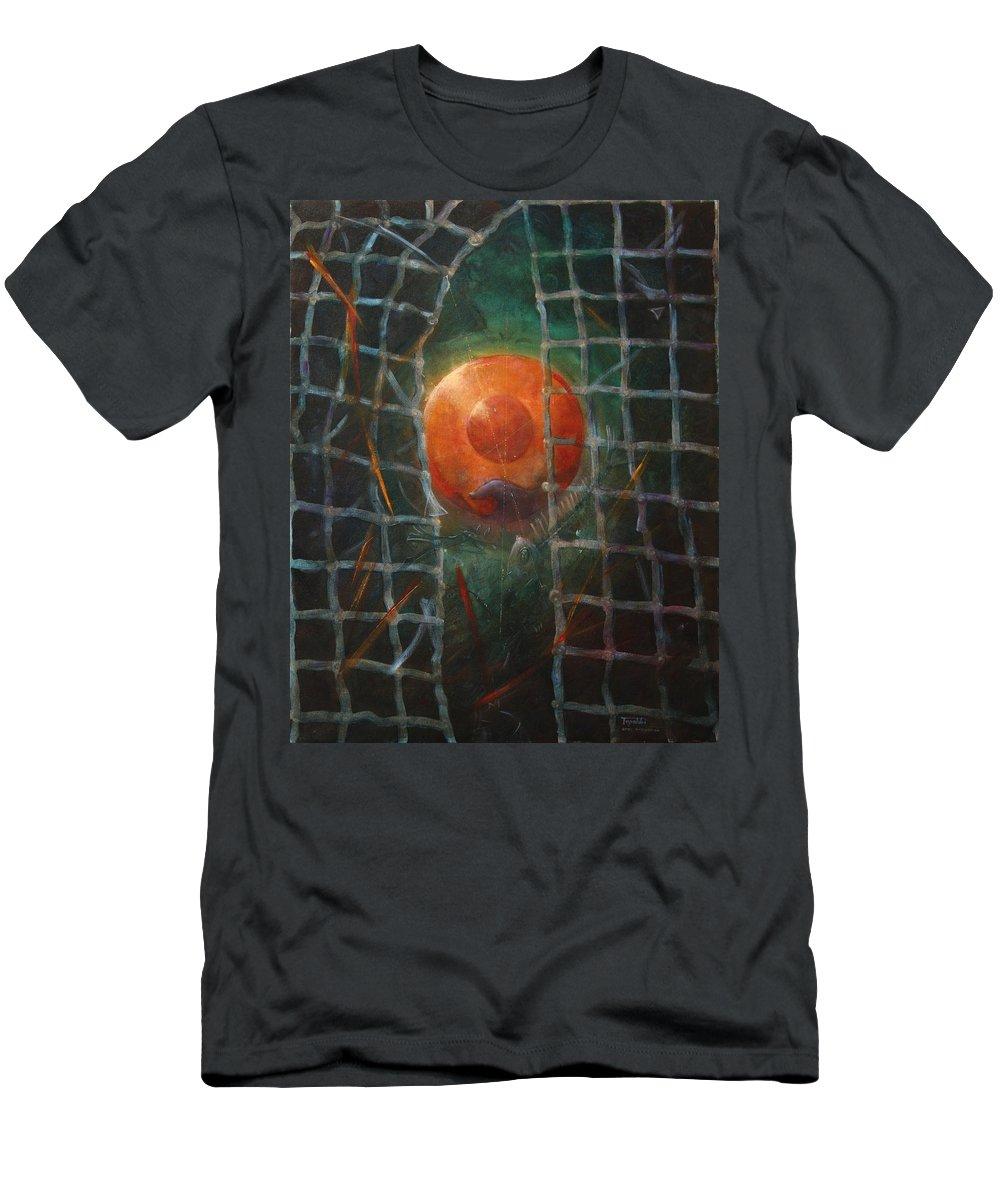Orange T-Shirt featuring the painting Breakthrough by Darko Topalski