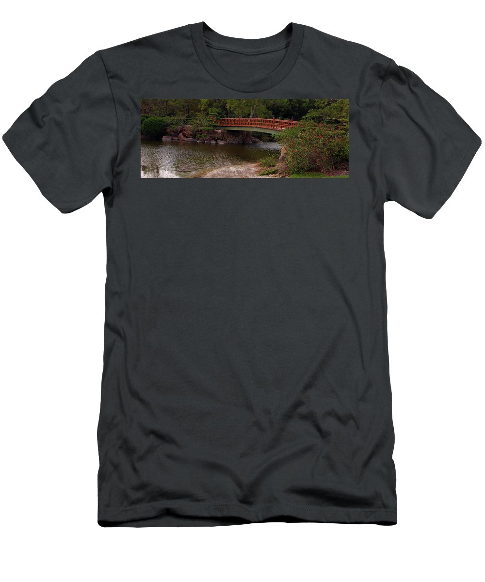 Bridge Men's T-Shirt (Athletic Fit) featuring the photograph Bridge At Morikami by Bruce Gaynor