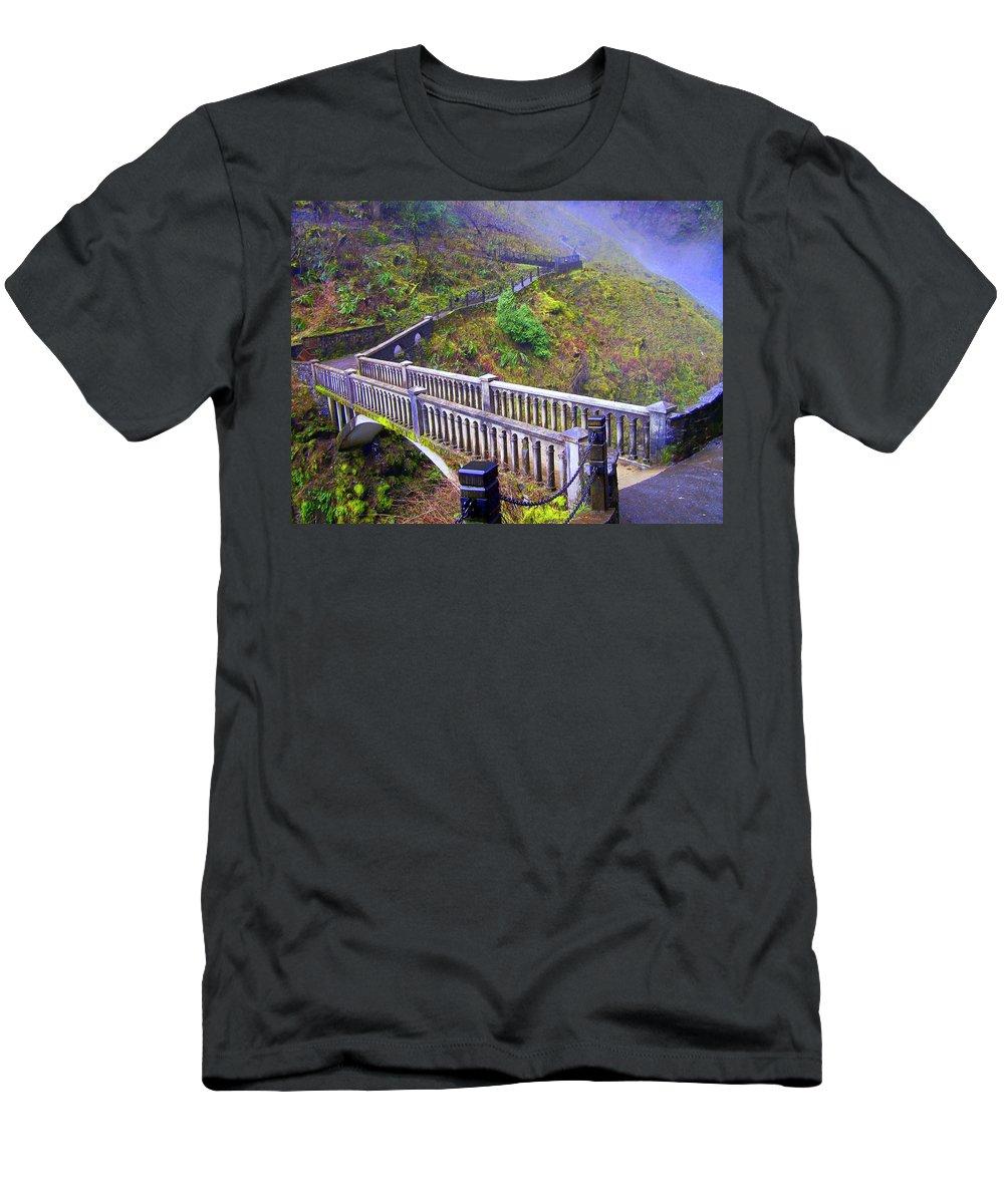 Bridge T-Shirt featuring the photograph Bridge at Multnomah Falls by Lisa Rose Musselwhite