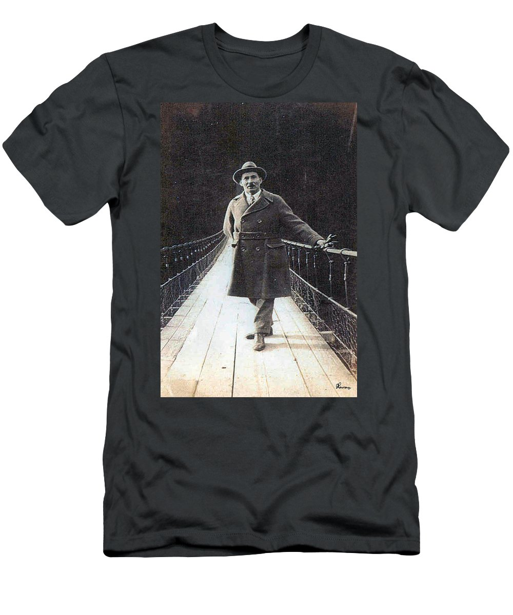 Bridge Man Classic Black And White Old Photo Pioneers Old Days 1900s Men's T-Shirt (Athletic Fit) featuring the photograph Bridge To Dreams by Andrea Lawrence