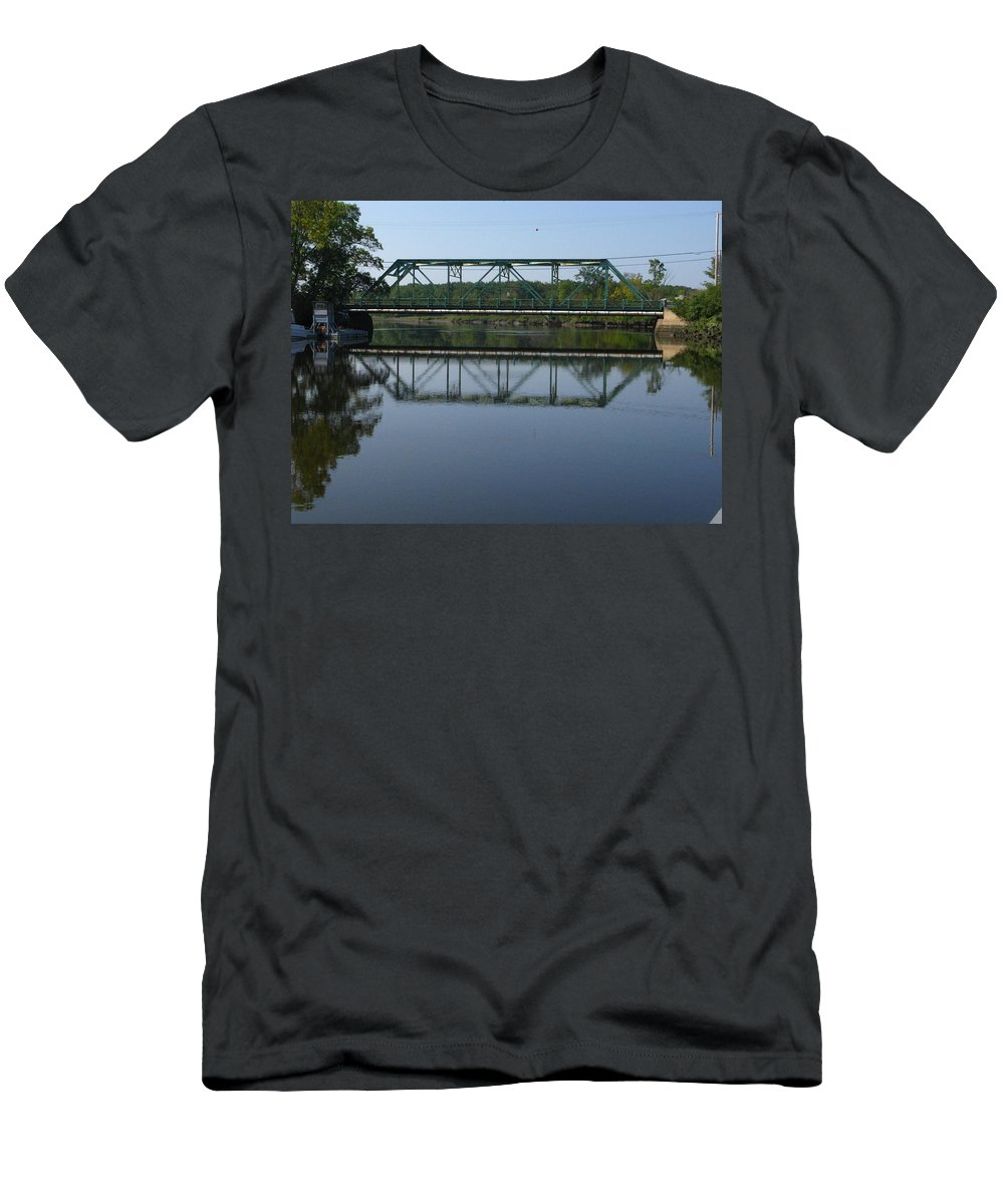 bridging The Cathance Men's T-Shirt (Athletic Fit) featuring the photograph Bridging The Cathance by Bill Tomsa