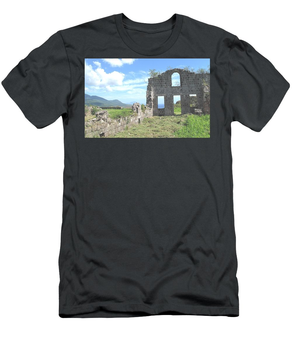 St Kitts Men's T-Shirt (Athletic Fit) featuring the photograph Brimstone Ruins by Ian MacDonald