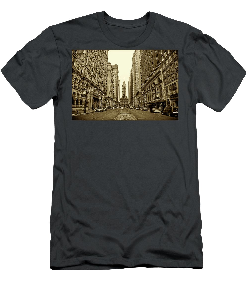 Broad Street Men's T-Shirt (Athletic Fit) featuring the photograph Broad Street Facing Philadelphia City Hall In Sepia by Bill Cannon