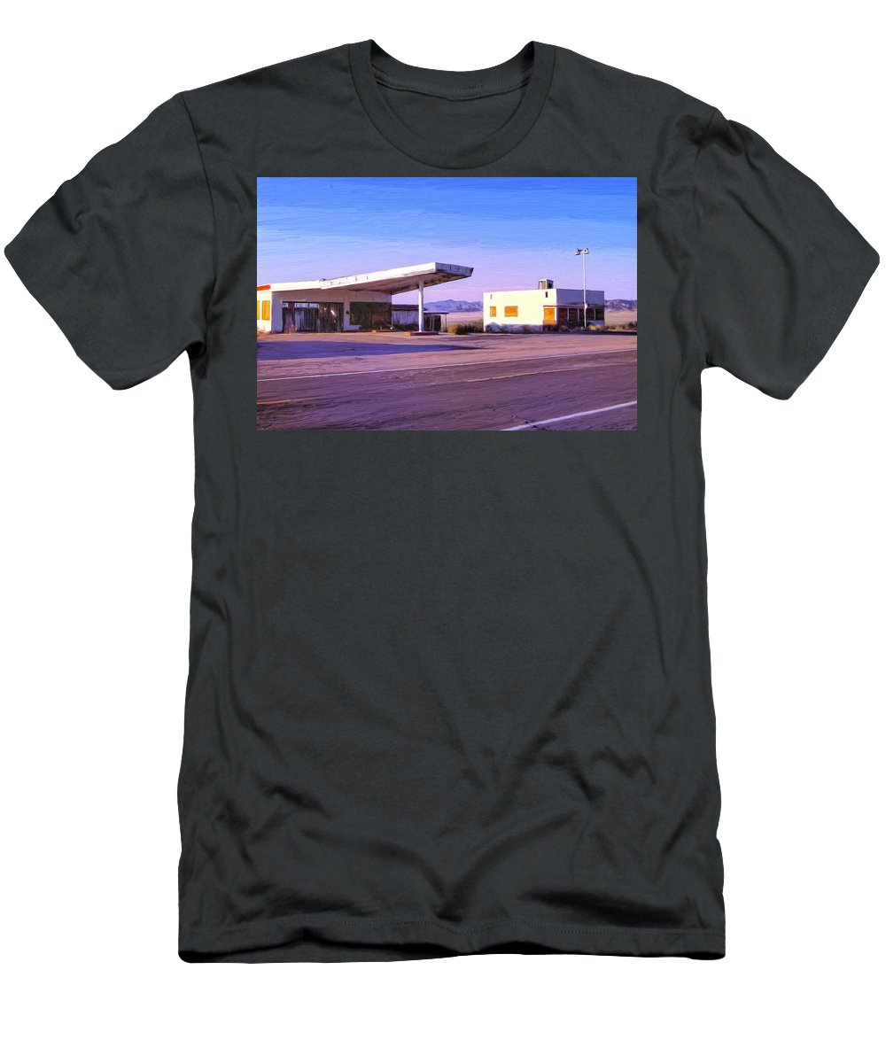 Old Gas Station Men's T-Shirt (Athletic Fit) featuring the painting Broken Dreams by Dominic Piperata