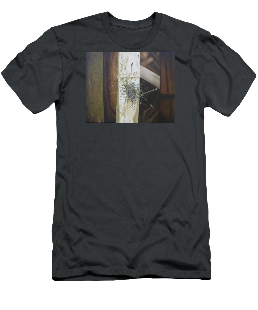 Plants Men's T-Shirt (Athletic Fit) featuring the painting Bromeliad And Bamboo by Marianna Hoefle