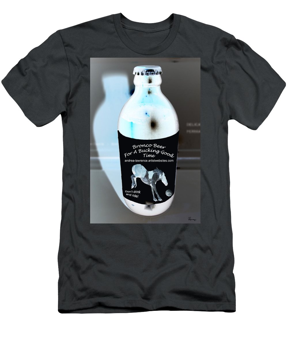 Beer Bottle Stubby Advertising Art Saskatchewan Artist And Photographer Black Label Horse Old Style Cap Men's T-Shirt (Athletic Fit) featuring the photograph Bronco Beer by Andrea Lawrence