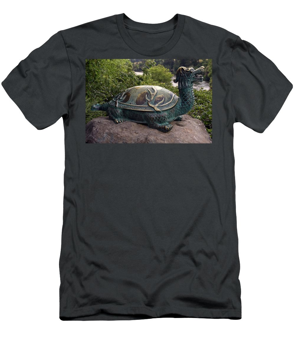 Bronze Turtle Dragon Sculpture Men's T-Shirt (Athletic Fit) featuring the photograph Bronze Turtle Dragon Sculpture by Sally Weigand