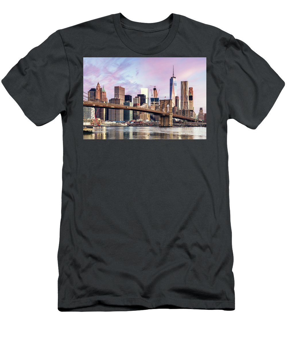 Architecture Men's T-Shirt (Athletic Fit) featuring the photograph Brooklyn Bridge And Skyline At Sunrise, New York, Usa by Matteo Colombo