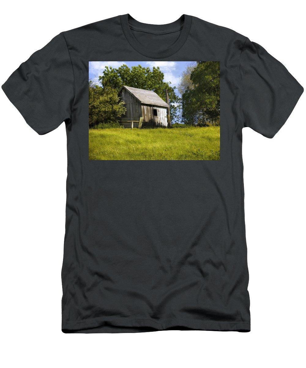 Landscape Men's T-Shirt (Athletic Fit) featuring the photograph Brushy Peak Cabin by Karen W Meyer