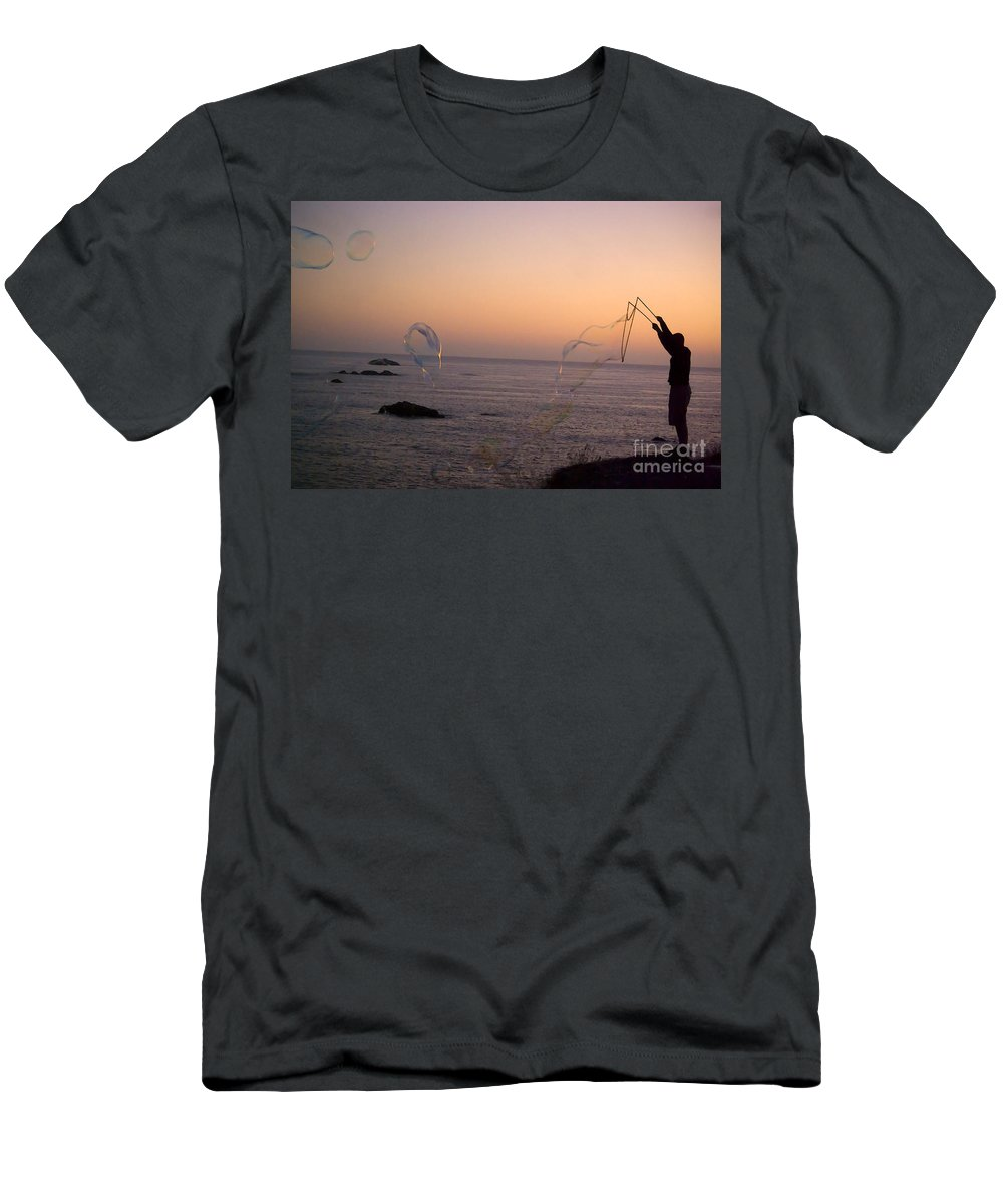 Bubbles Men's T-Shirt (Athletic Fit) featuring the photograph Bubbles On The Beach by Jim And Emily Bush