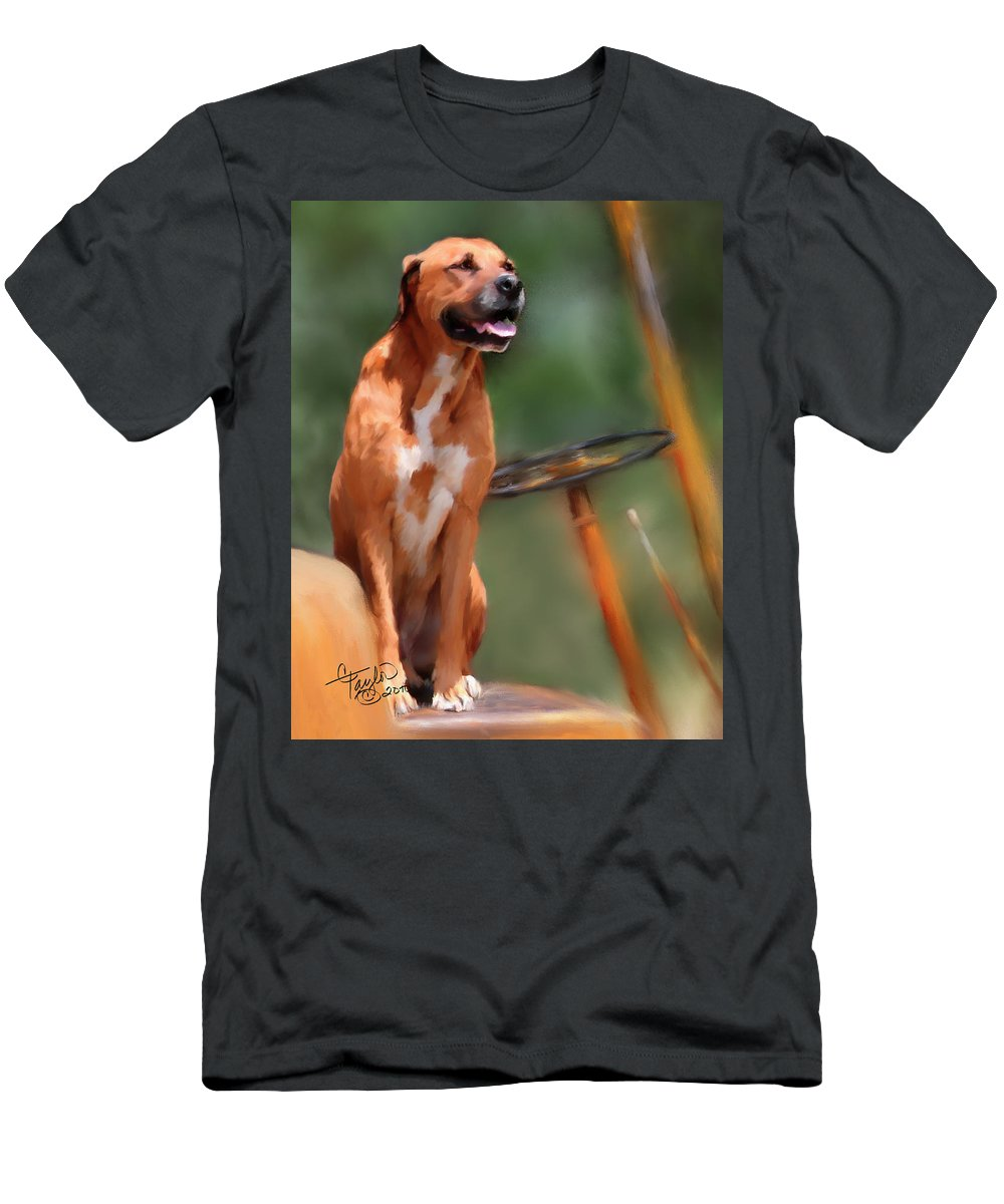 Dog Men's T-Shirt (Athletic Fit) featuring the painting Buck by Colleen Taylor
