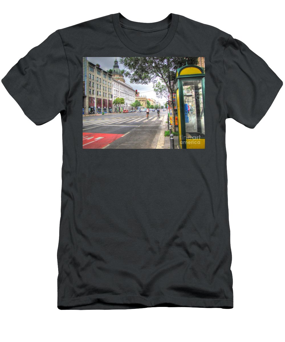 City Men's T-Shirt (Athletic Fit) featuring the pyrography Budaresht by Yury Bashkin