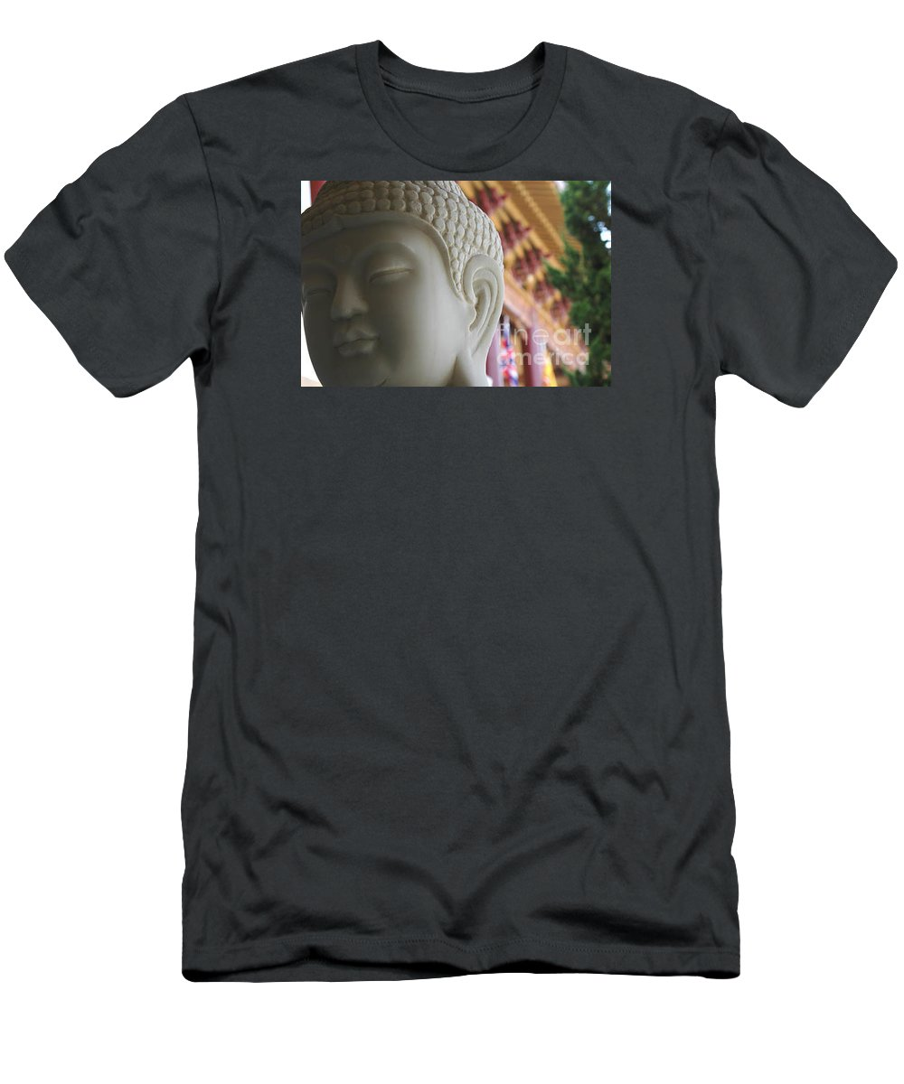 Zen Men's T-Shirt (Athletic Fit) featuring the photograph Buddha At Hsi Lai Temple by Michael Ziegler