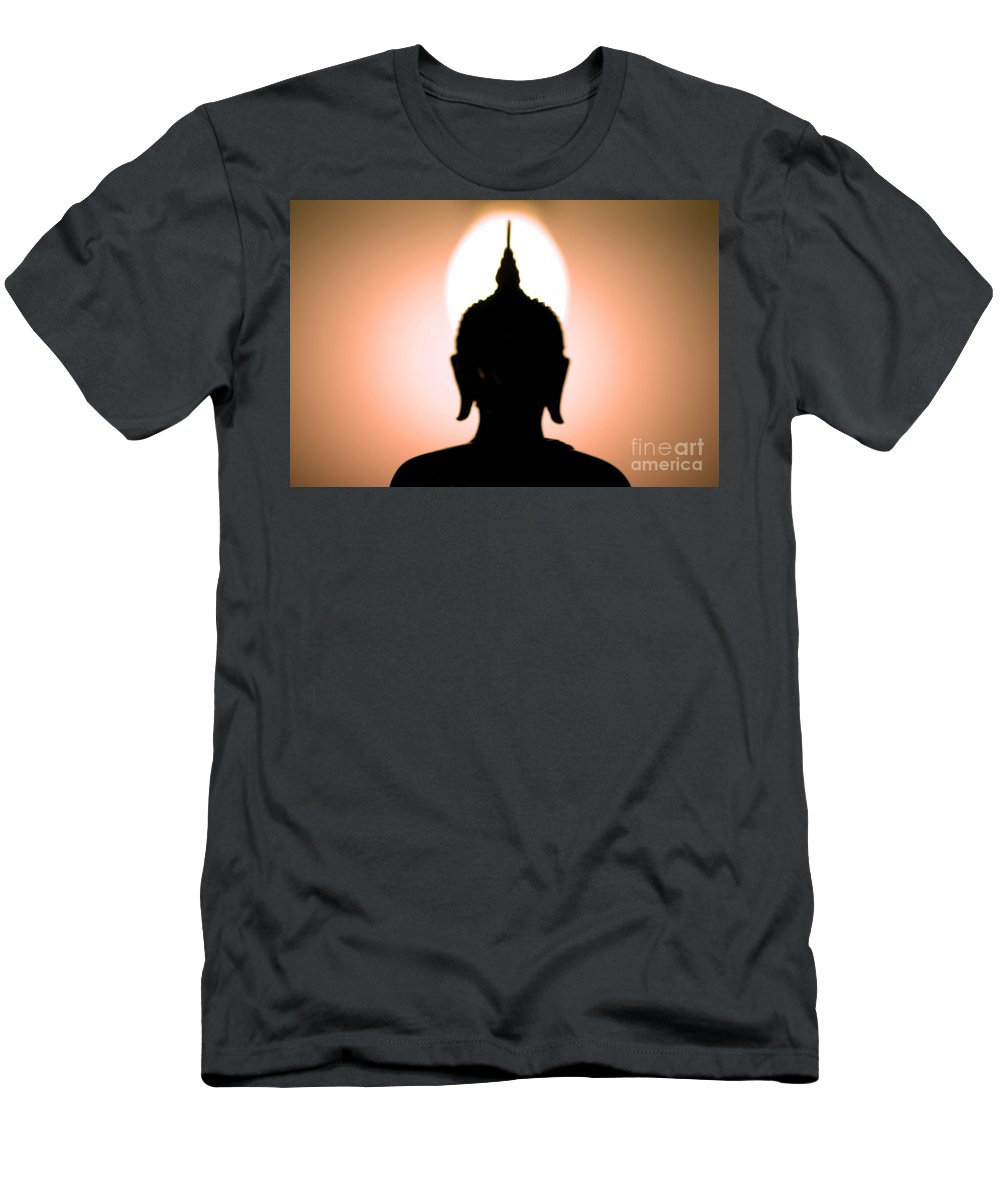 Bangkok Men's T-Shirt (Athletic Fit) featuring the photograph Buddha Silhouette by Ray Laskowitz - Printscapes