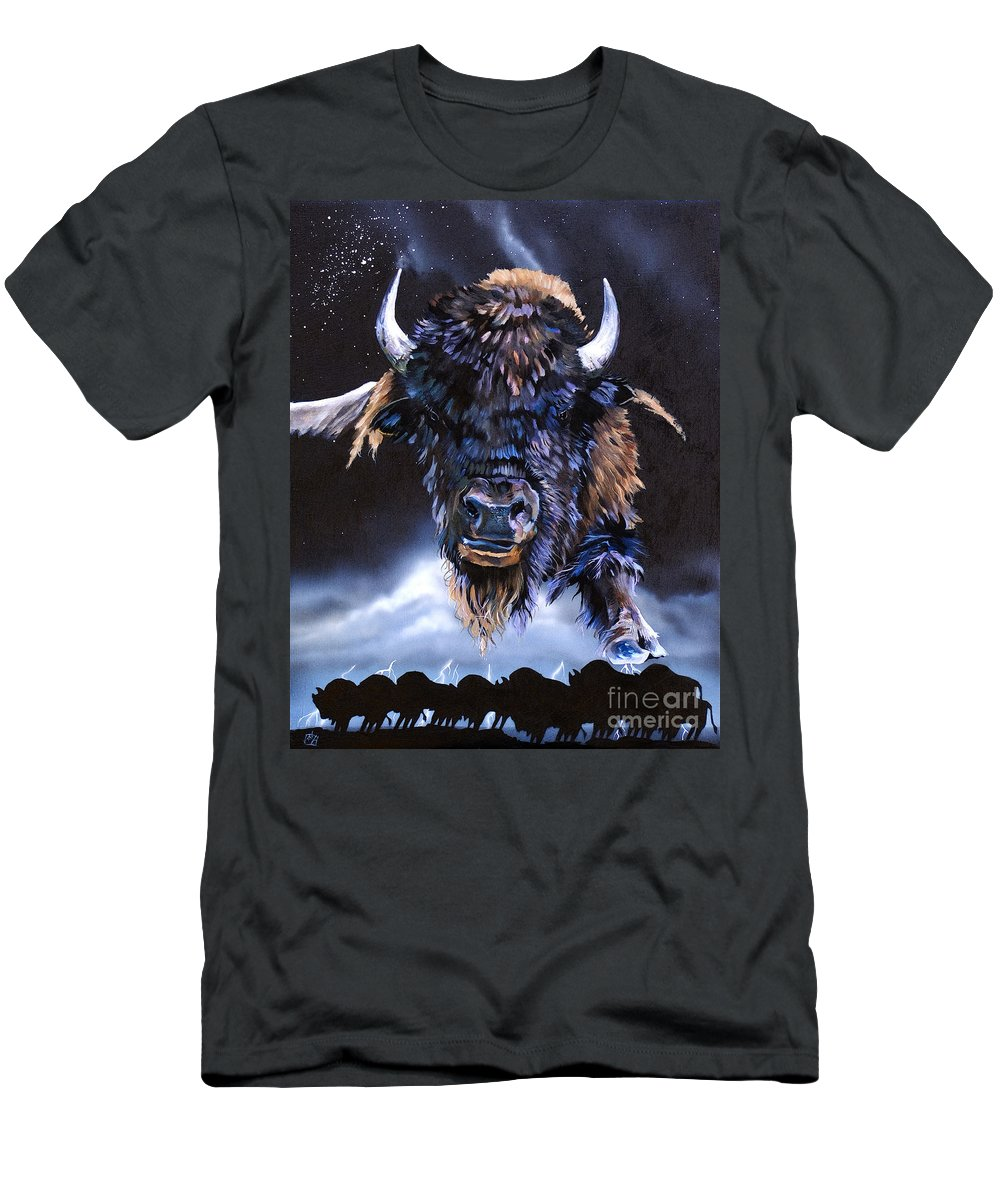 Buffalo Men's T-Shirt (Athletic Fit) featuring the painting Buffalo Medicine by J W Baker