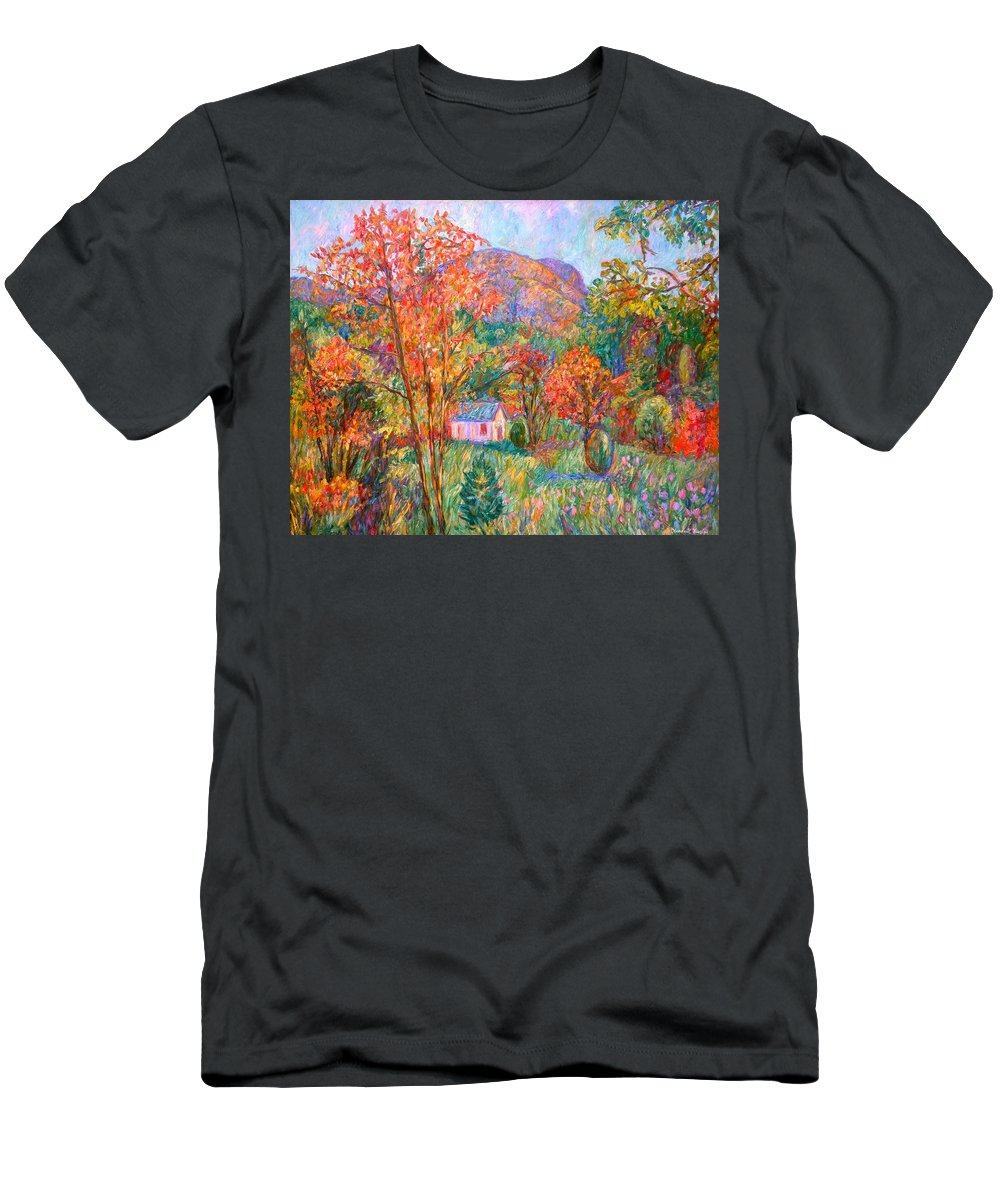 Landscape T-Shirt featuring the painting Buffalo Mountain in Fall by Kendall Kessler