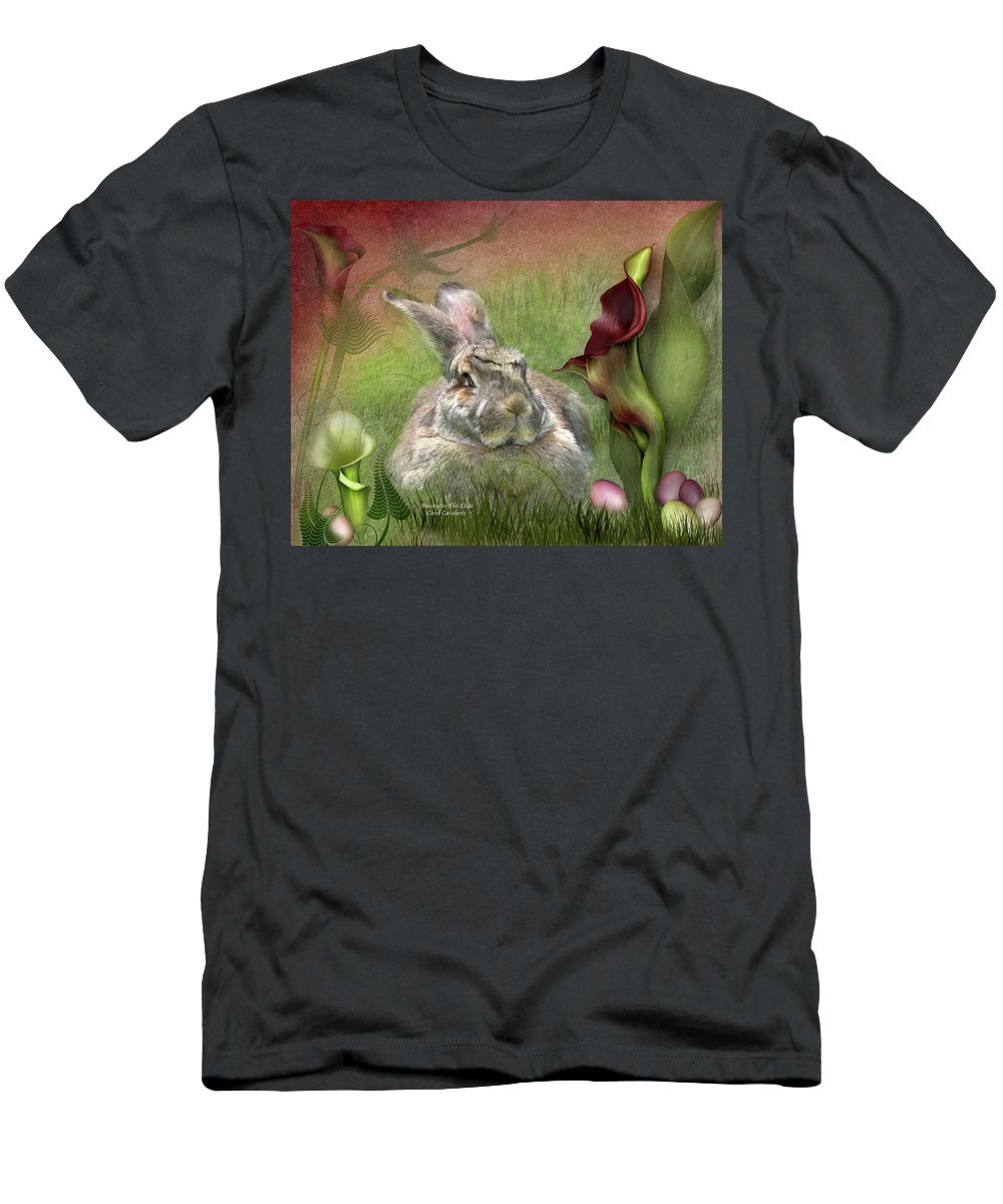 Bunny Men's T-Shirt (Athletic Fit) featuring the mixed media Bunny In The Lilies by Carol Cavalaris