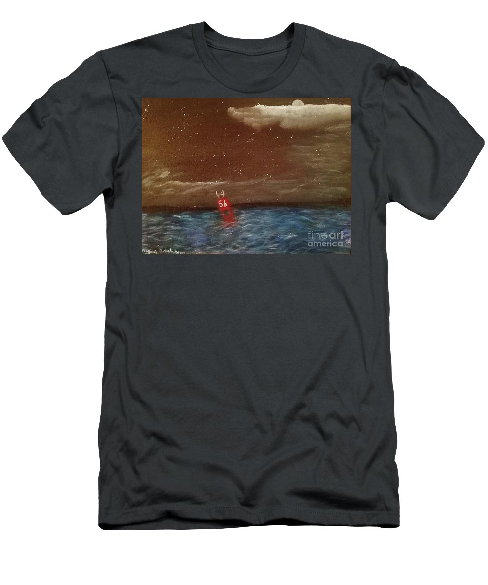 Black Men's T-Shirt (Athletic Fit) featuring the painting Buoy 56 by Regina Combs