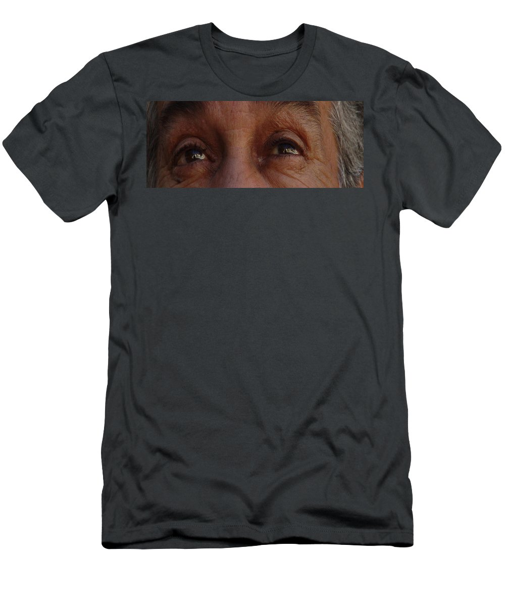 Eyes Men's T-Shirt (Athletic Fit) featuring the photograph Burned Eyes by Peter Piatt