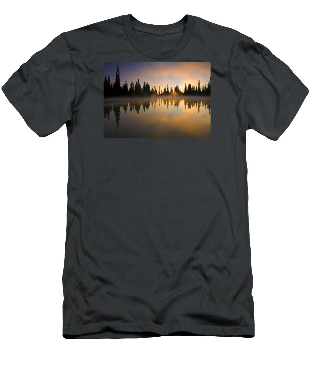 Lake Men's T-Shirt (Athletic Fit) featuring the photograph Burning Dawn by Mike Dawson