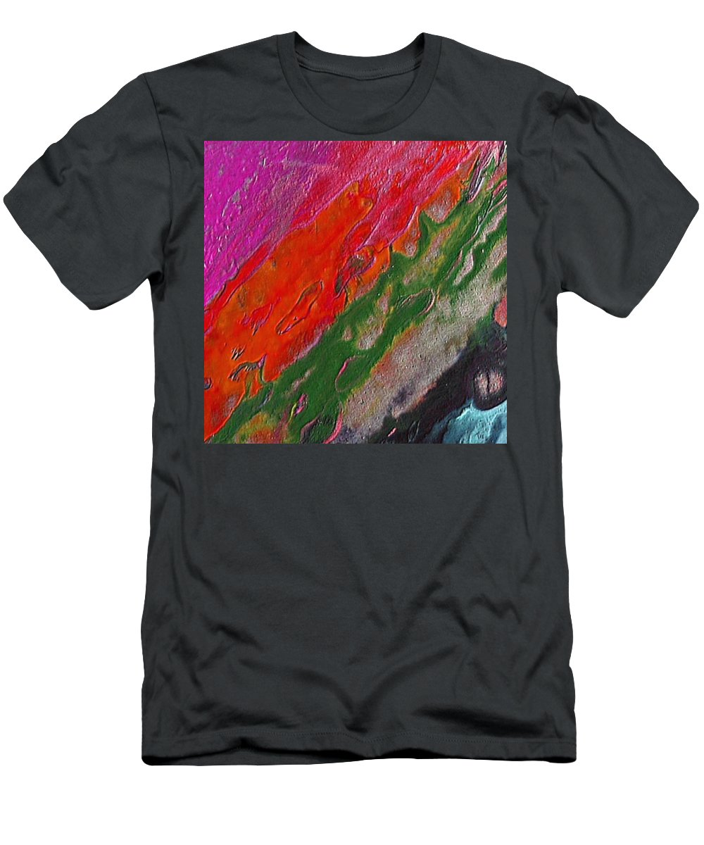 Abstract Encaustic Painting Men's T-Shirt (Athletic Fit) featuring the painting Burning Lava by Dragica Micki Fortuna