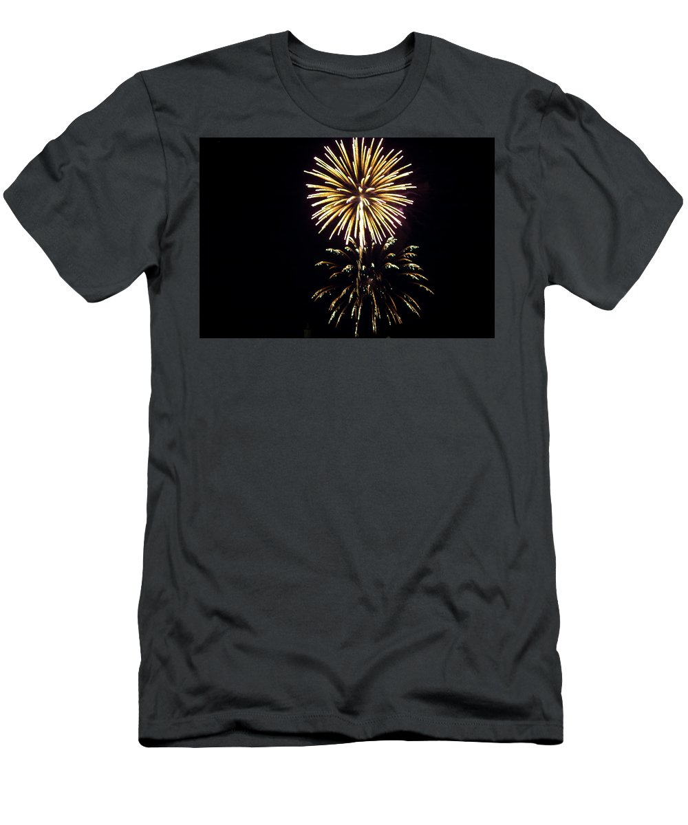 Fire Works Men's T-Shirt (Athletic Fit) featuring the photograph Burst by Tara Lynn