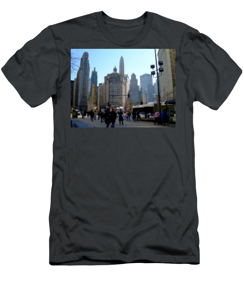 Archtecture Men's T-Shirt (Athletic Fit) featuring the digital art Bus On Miracle Mile by Anita Burgermeister