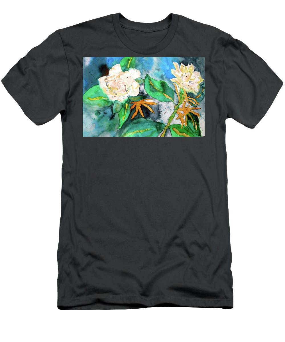 Gardenias Men's T-Shirt (Athletic Fit) featuring the painting Busy Gardenias by Beverley Harper Tinsley