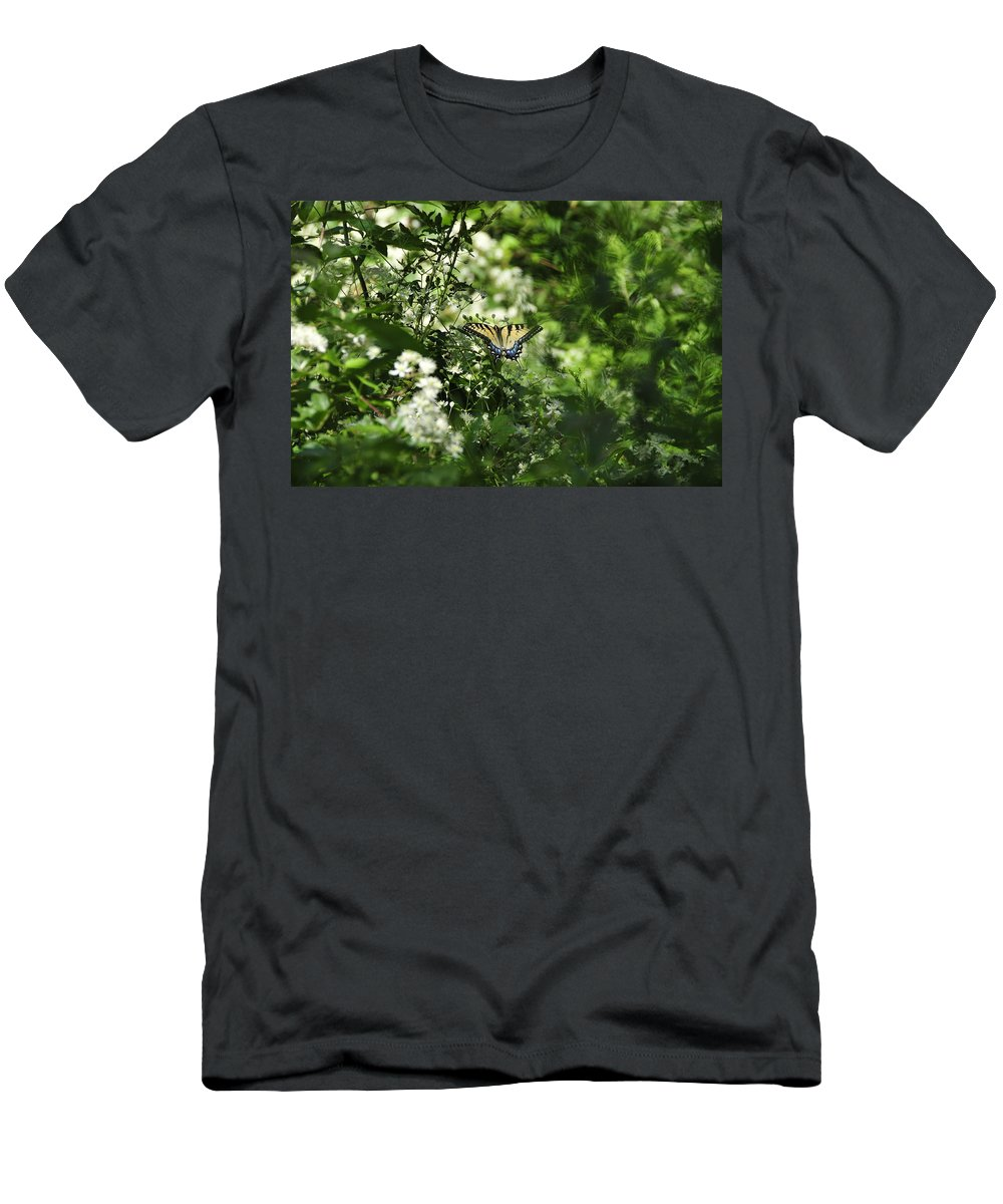Butterfly Men's T-Shirt (Athletic Fit) featuring the photograph Butterfly In Muted Green Background by David Arment