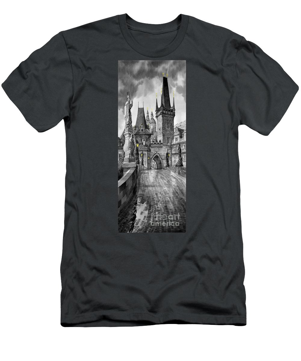 Prague Men's T-Shirt (Athletic Fit) featuring the painting Bw Prague Charles Bridge 02 by Yuriy Shevchuk