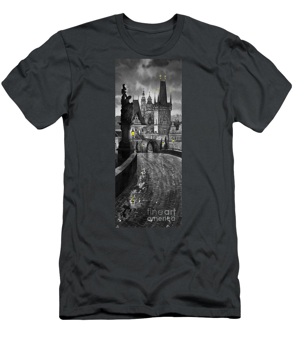 Prague T-Shirt featuring the painting BW Prague Charles Bridge 03 by Yuriy Shevchuk