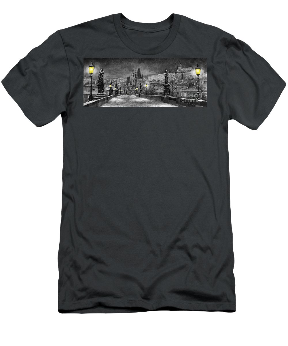 Prague Men's T-Shirt (Athletic Fit) featuring the painting Bw Prague Charles Bridge 06 by Yuriy Shevchuk