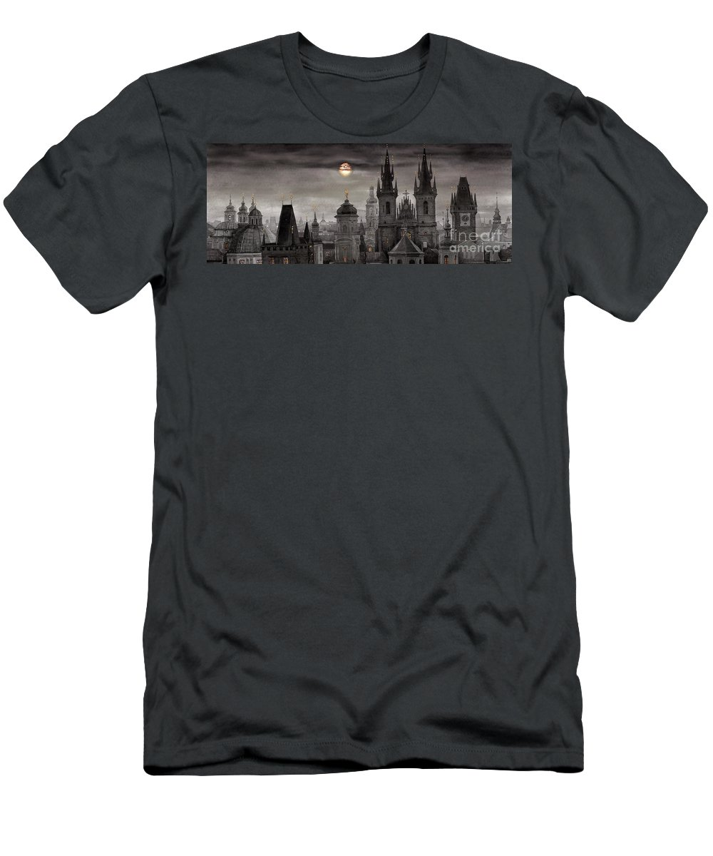 Cityscape Men's T-Shirt (Athletic Fit) featuring the painting Bw Prague City Of Hundres Spiers by Yuriy Shevchuk