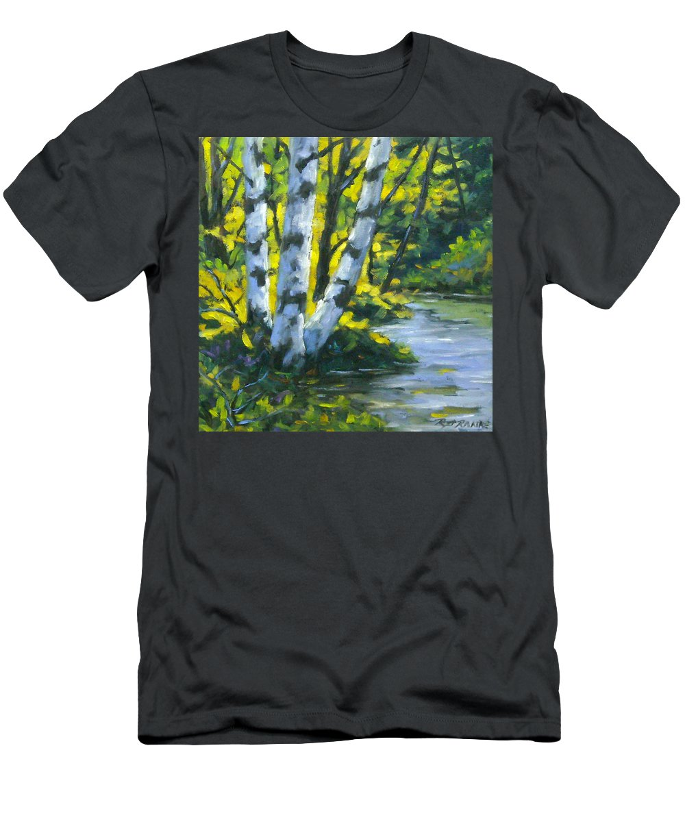 Art Men's T-Shirt (Athletic Fit) featuring the painting By The River by Richard T Pranke