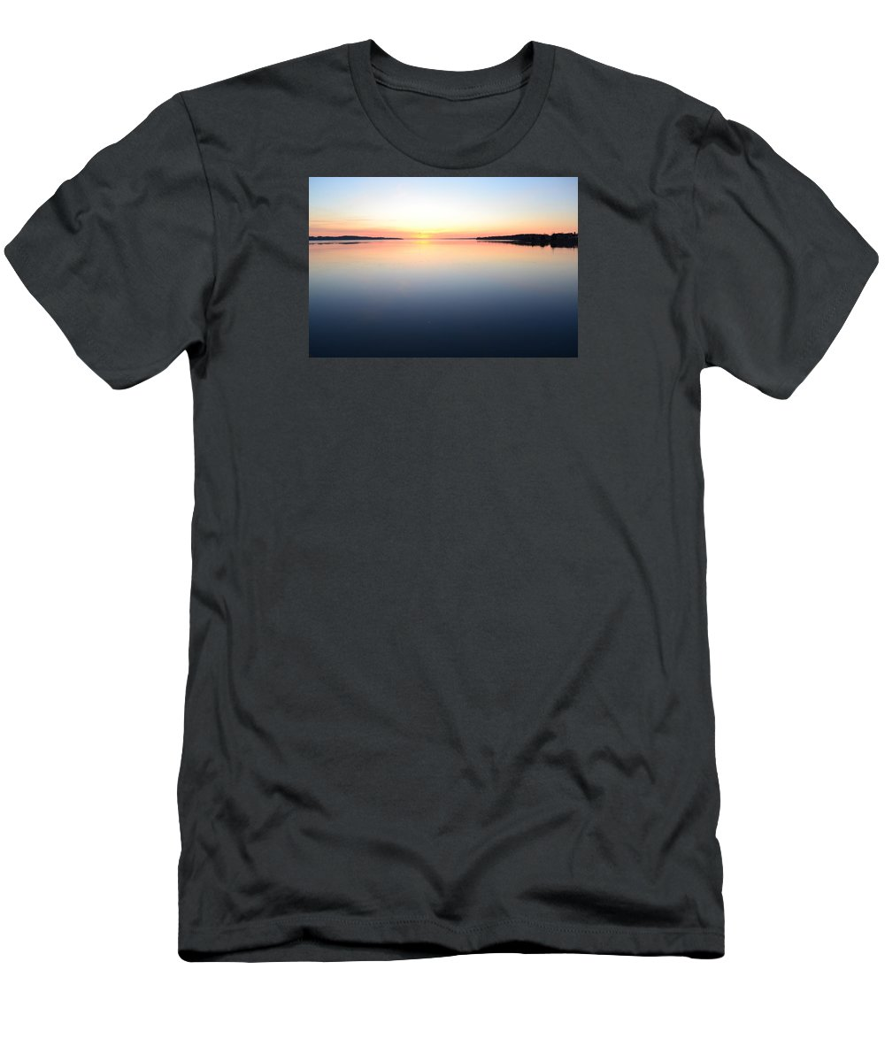 Abstract Men's T-Shirt (Athletic Fit) featuring the photograph By The Water At Sunrise by Lyle Crump