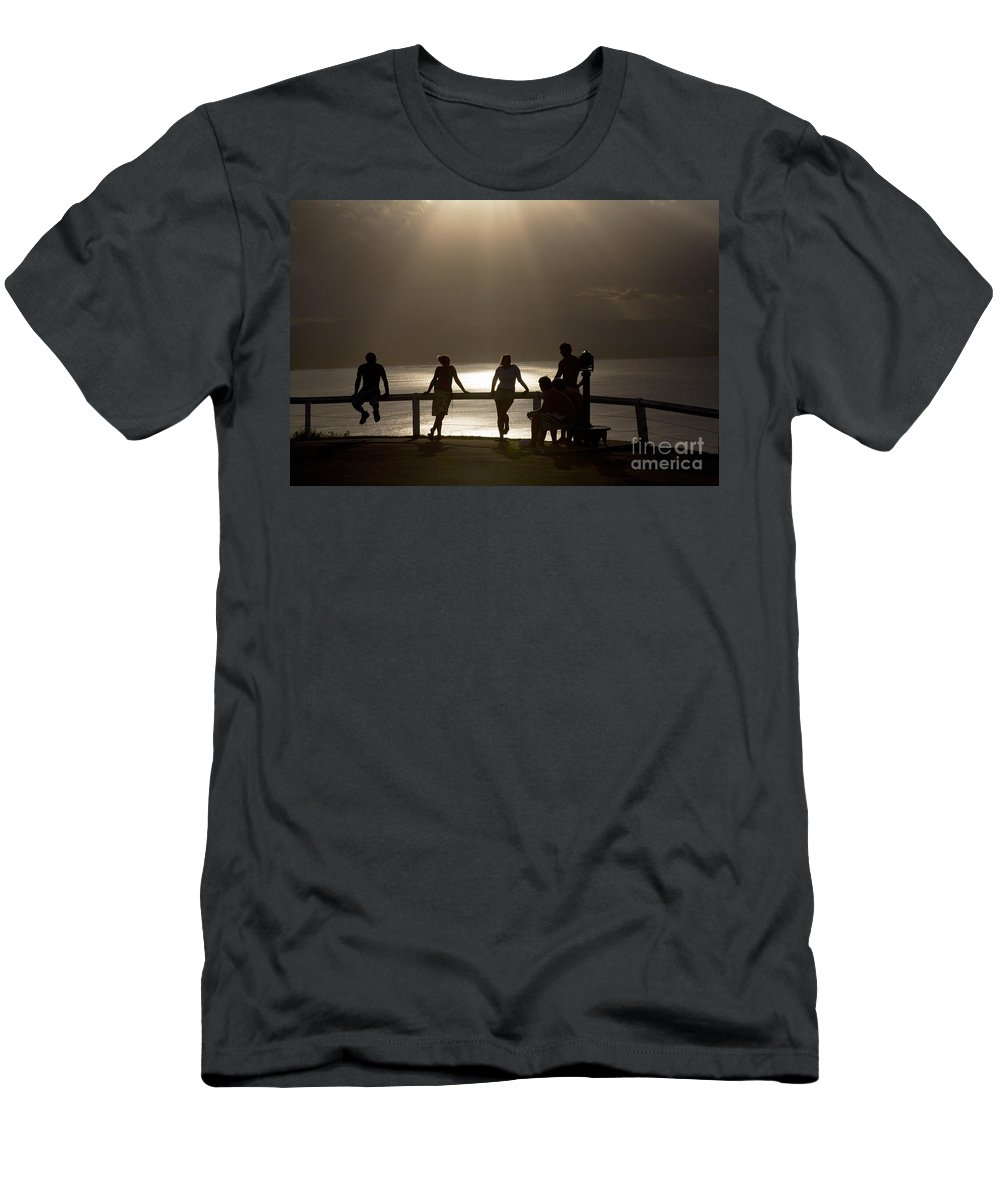 Byron Bay Lighthouse Silhouette Sunset Rays Men's T-Shirt (Athletic Fit) featuring the photograph Byron Bay Lighthouse by Sheila Smart Fine Art Photography
