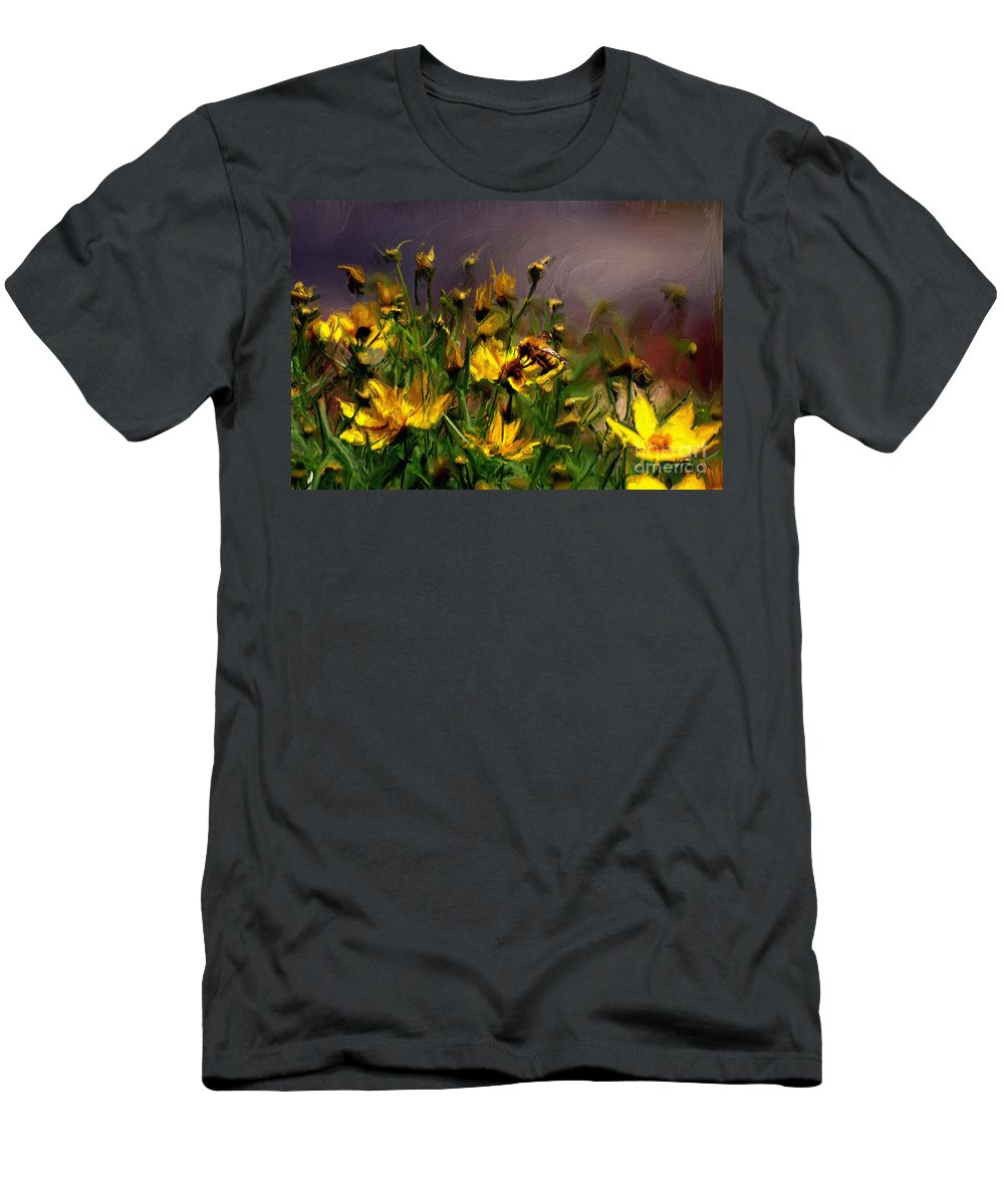 Floral Men's T-Shirt (Athletic Fit) featuring the digital art Bzzzzz by Lois Bryan