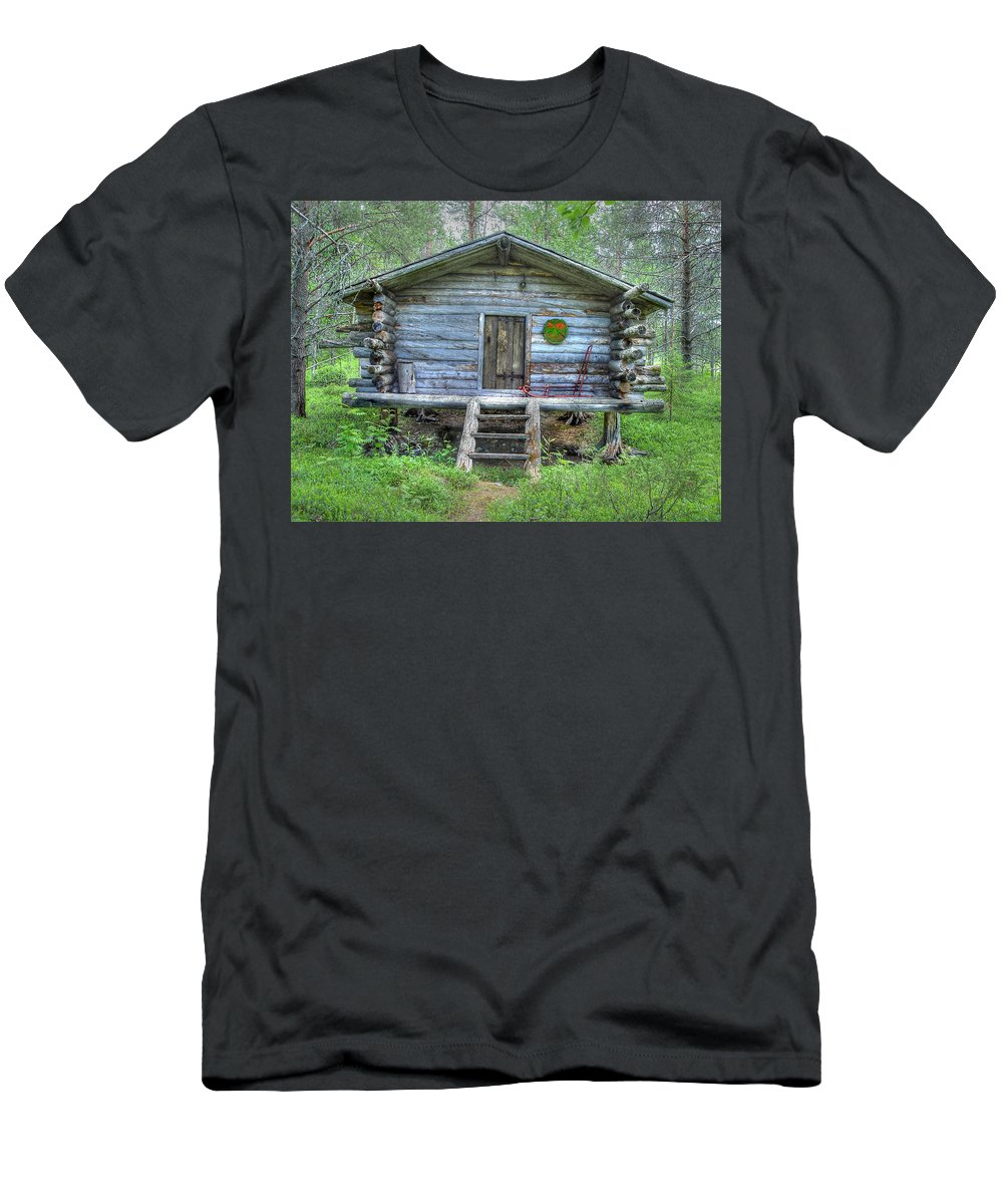 Rustic Men's T-Shirt (Athletic Fit) featuring the photograph Cabin In Lapland Forest by Merja Waters