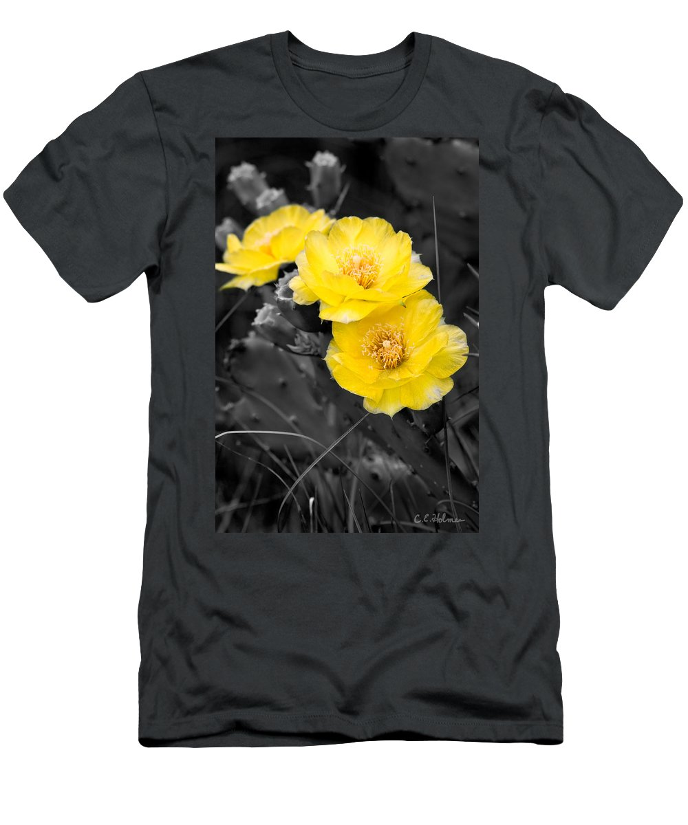 Cactus Men's T-Shirt (Athletic Fit) featuring the photograph Cactus Blossom by Christopher Holmes