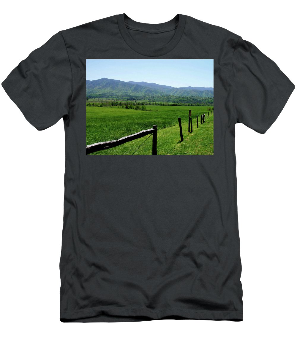 Cades Cove Men's T-Shirt (Athletic Fit) featuring the photograph Cades Cove View by Nancy Mueller